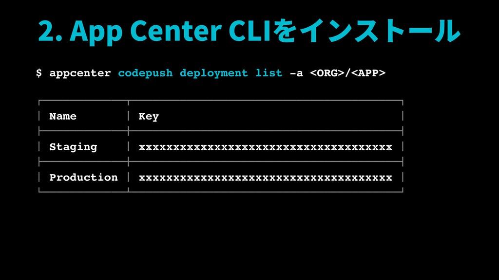 2. App Center CLIをインストール $ appcenter codepush d...