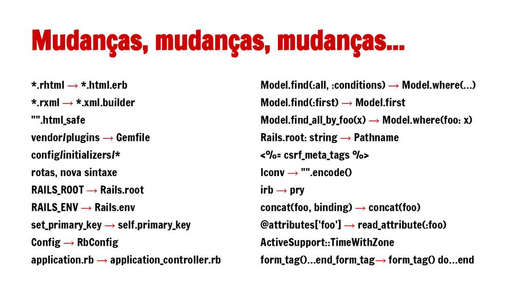 Mudanças, mudanças, mudanças... Model.find(:all...