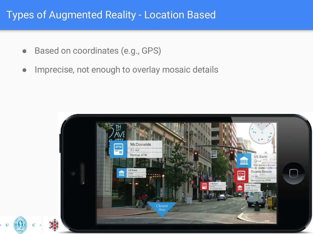 Types of Augmented Reality - Location Based ● B...