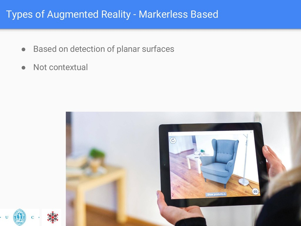 Types of Augmented Reality - Markerless Based ●...