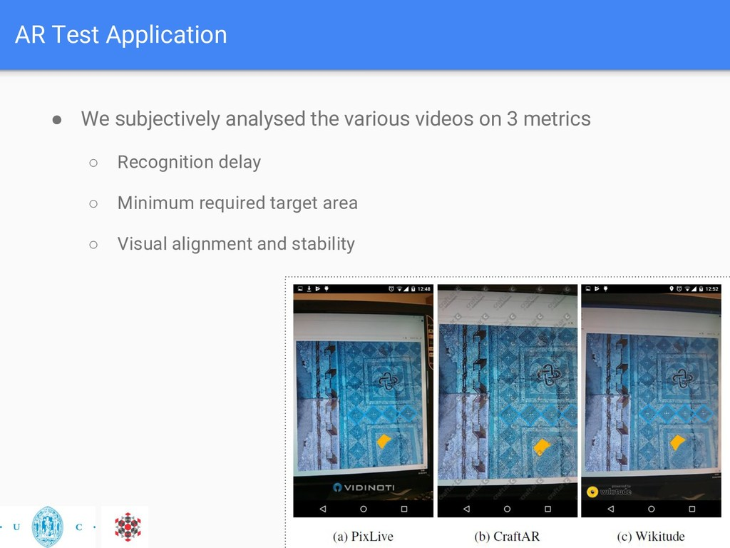 AR Test Application ● We subjectively analysed ...