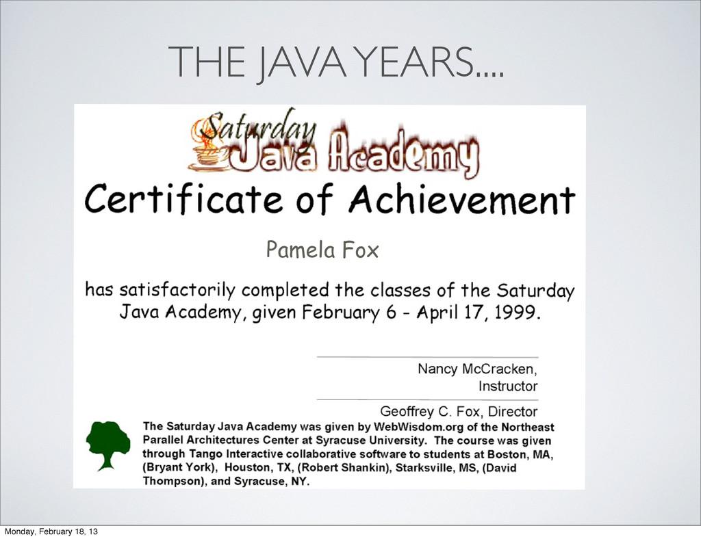 Pamela Fox THE JAVA YEARS.... Monday, February ...