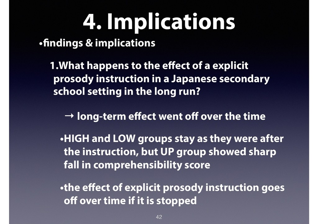 4. Implications •findings & implications 1.What...