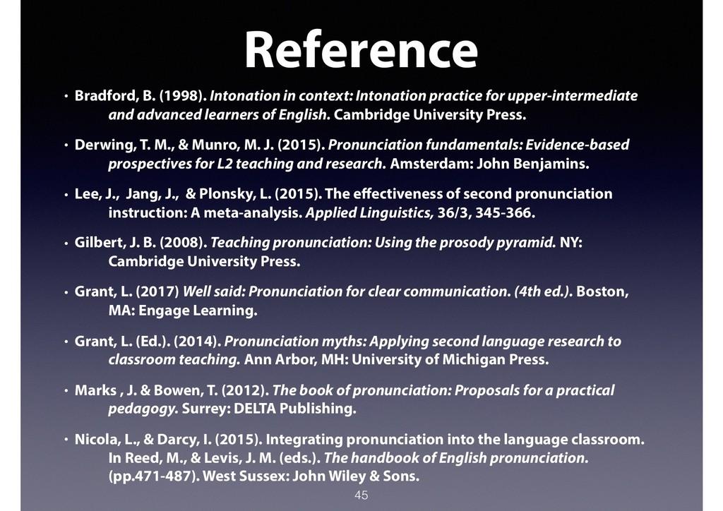45 Reference • Bradford, B. (1998). Intonation ...
