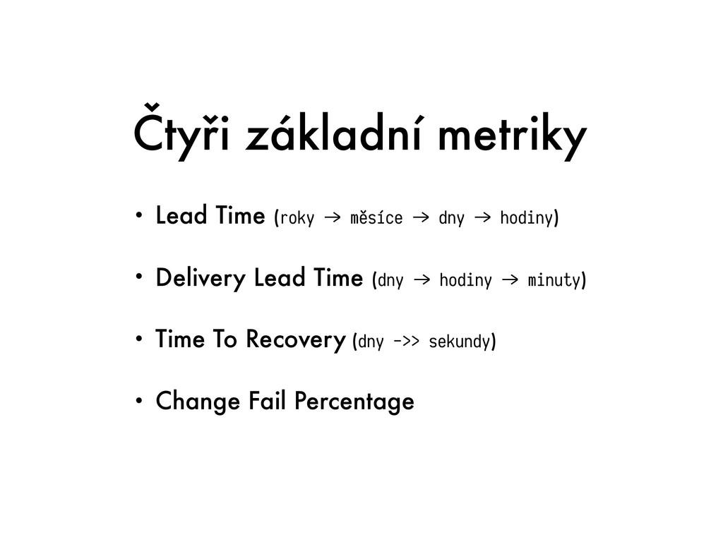 Čtyři základní metriky • Lead Time (roky &> měs...
