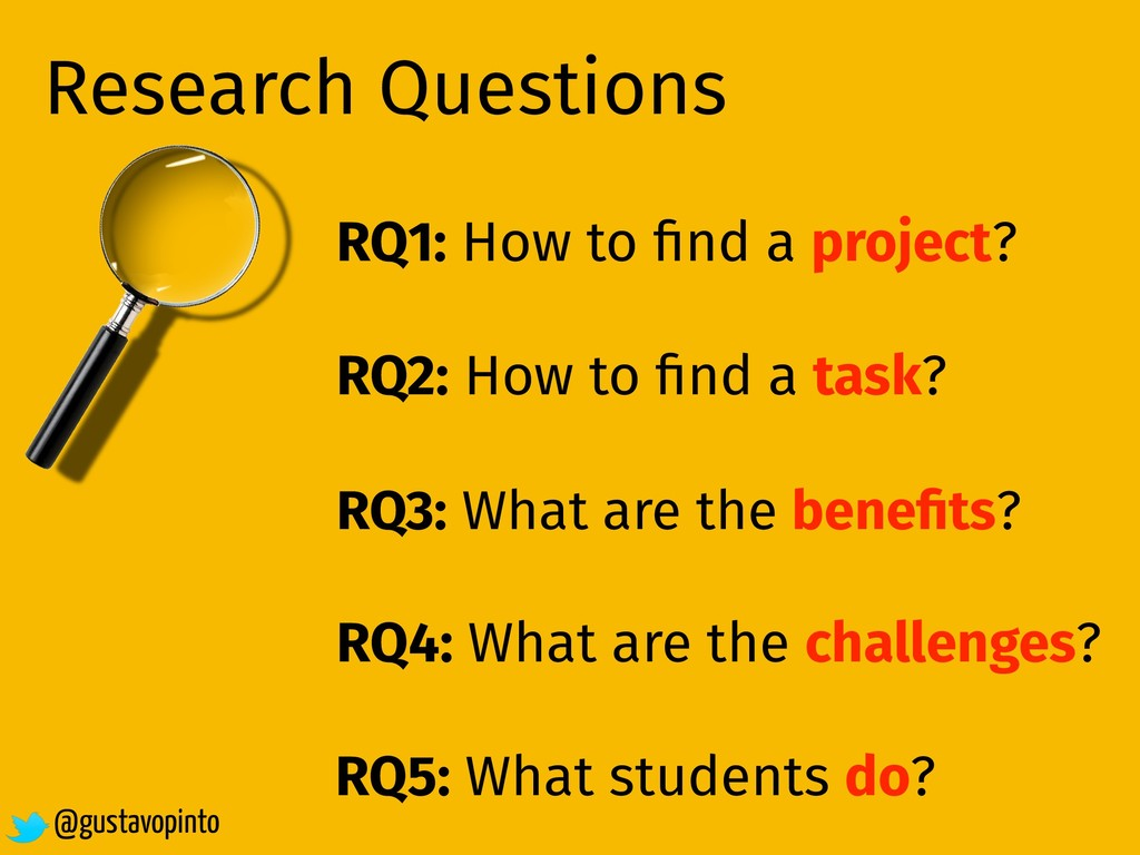 Research Questions RQ1: How to find a project? R...