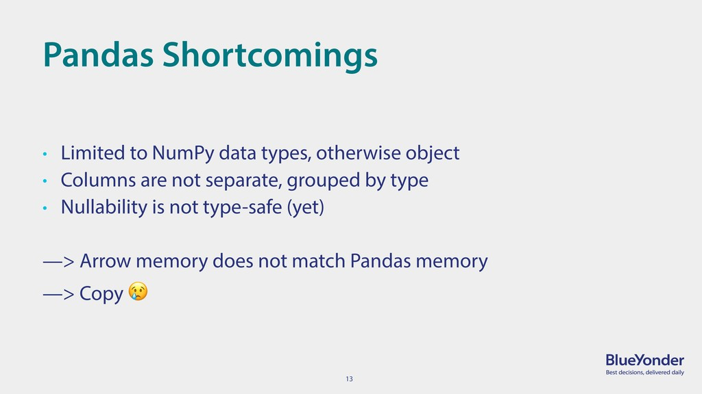 13 Pandas Shortcomings • Limited to NumPy data ...