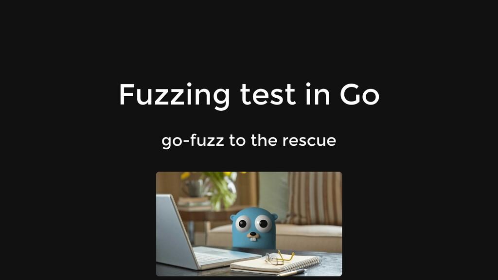 Fuzzing test in Go go-fuzz to the rescue