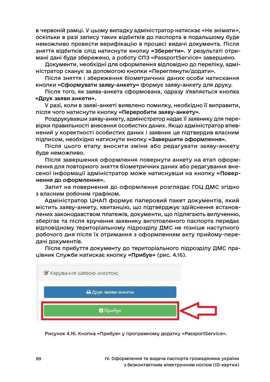89 IV. Оформлення та видача паспорта громадянин...