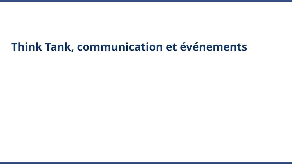 Think Tank, communication et événements