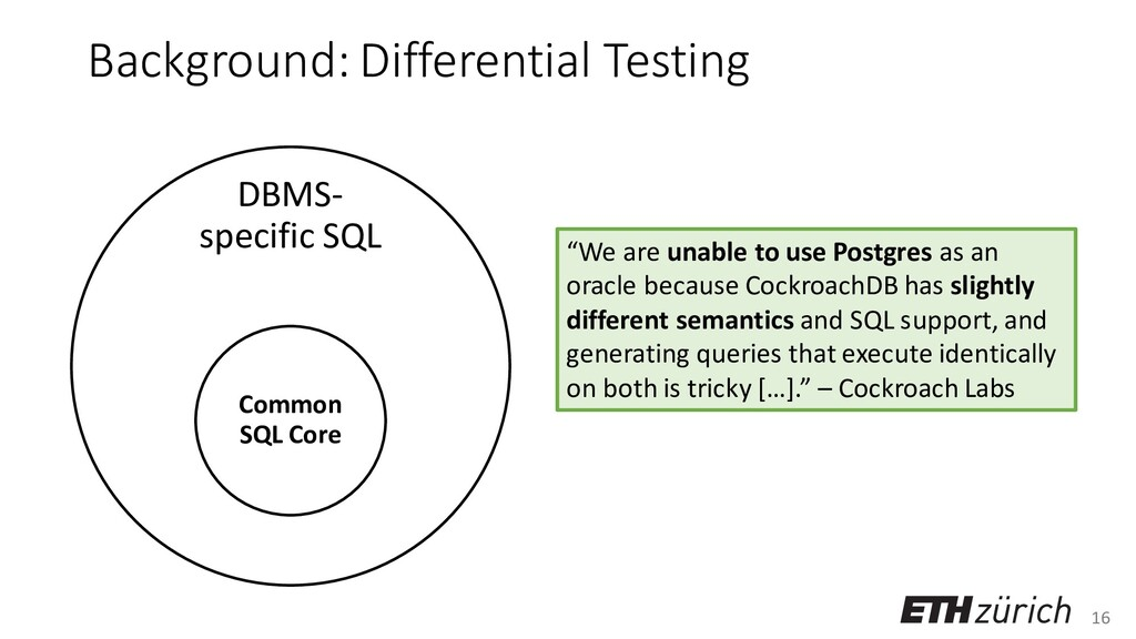 16 Background: Differential Testing DBMS- speci...