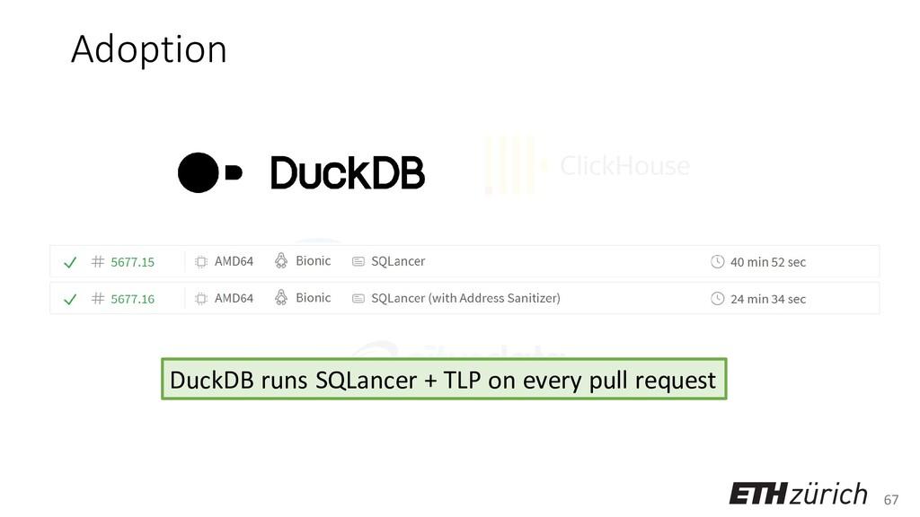 67 Adoption DuckDB runs SQLancer + TLP on every...