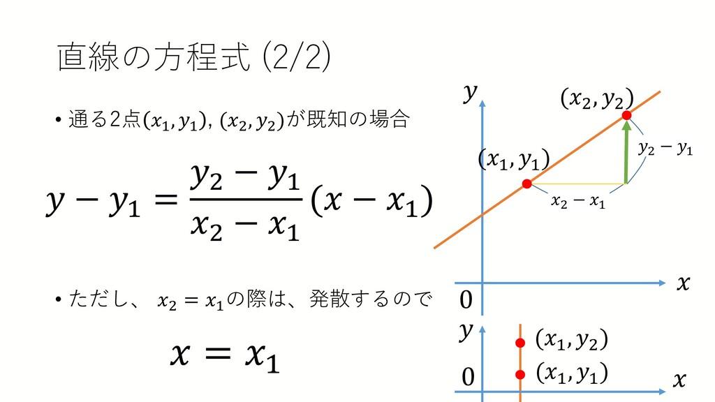 直線の方程式 (2/2) • 通る2点 𝑥𝑥1 , 𝑦𝑦1 , (𝑥𝑥2 , 𝑦𝑦2 )が既知...