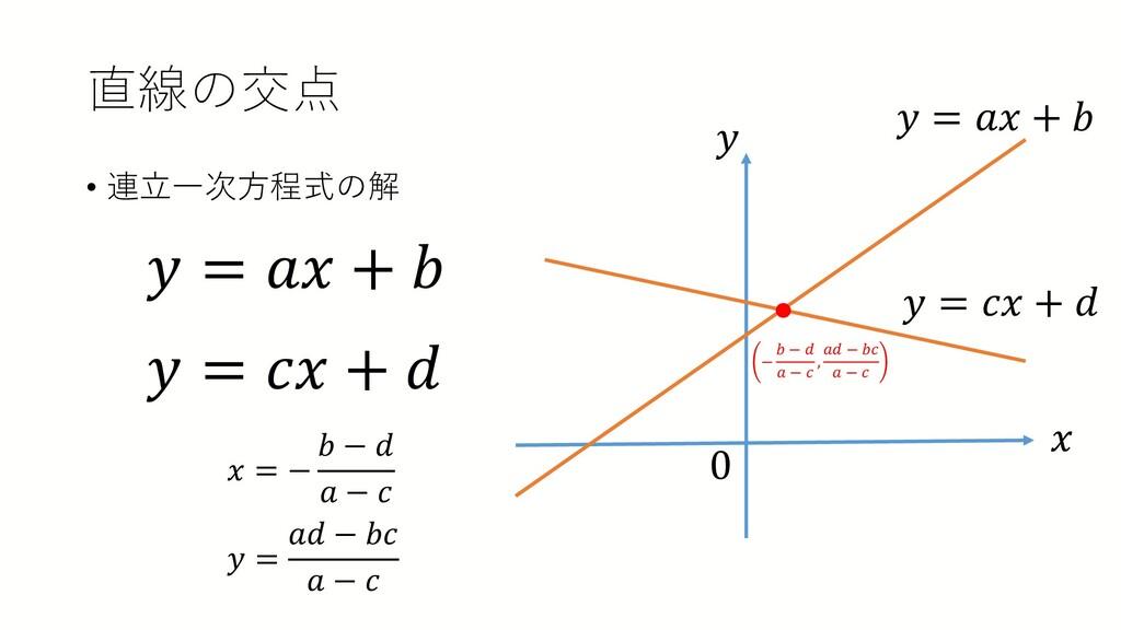 直線の交点 • 連立一次方程式の解 𝑦𝑦 = 𝑎𝑎𝑎𝑎 + 𝑏𝑏 𝑦𝑦 = 𝑐𝑐𝑐𝑐 + 𝑑𝑑...