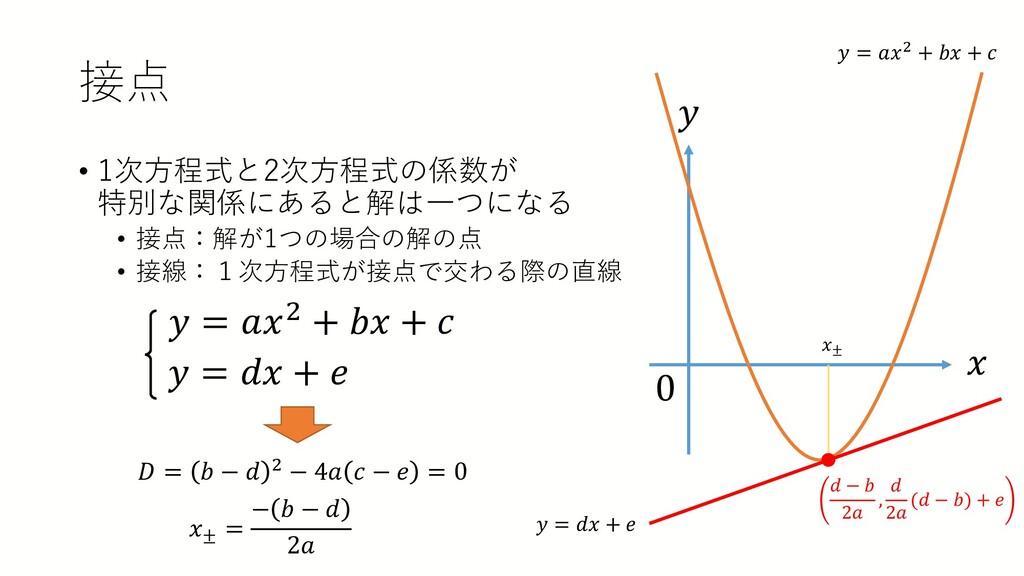 接点 • 1次方程式と2次方程式の係数が 特別な関係にあると解は一つになる • 接点:解が1つ...