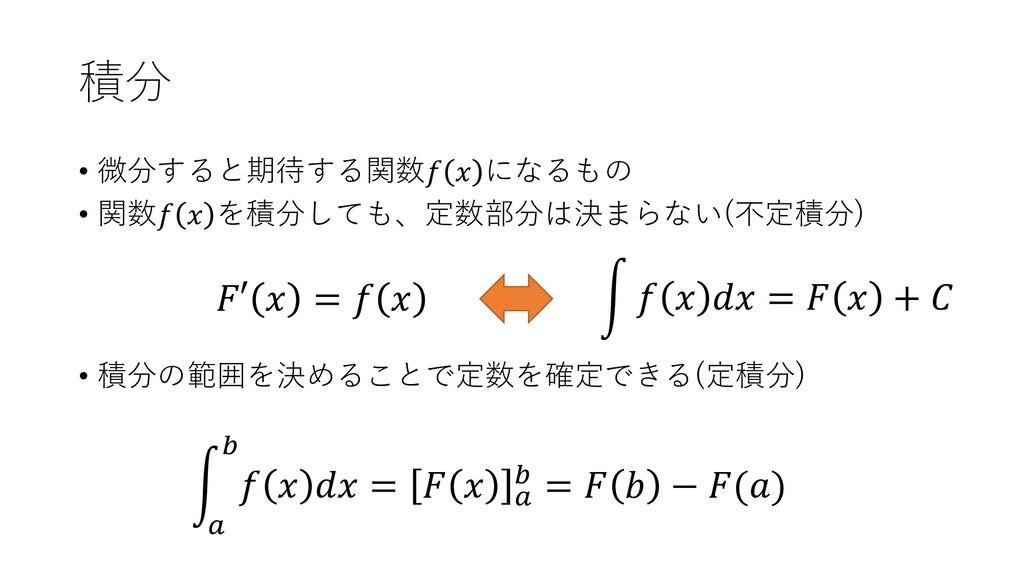 積分 • 微分すると期待する関数𝑓𝑓 𝑥𝑥 になるもの • 関数𝑓𝑓 𝑥𝑥 を積分しても、定数...