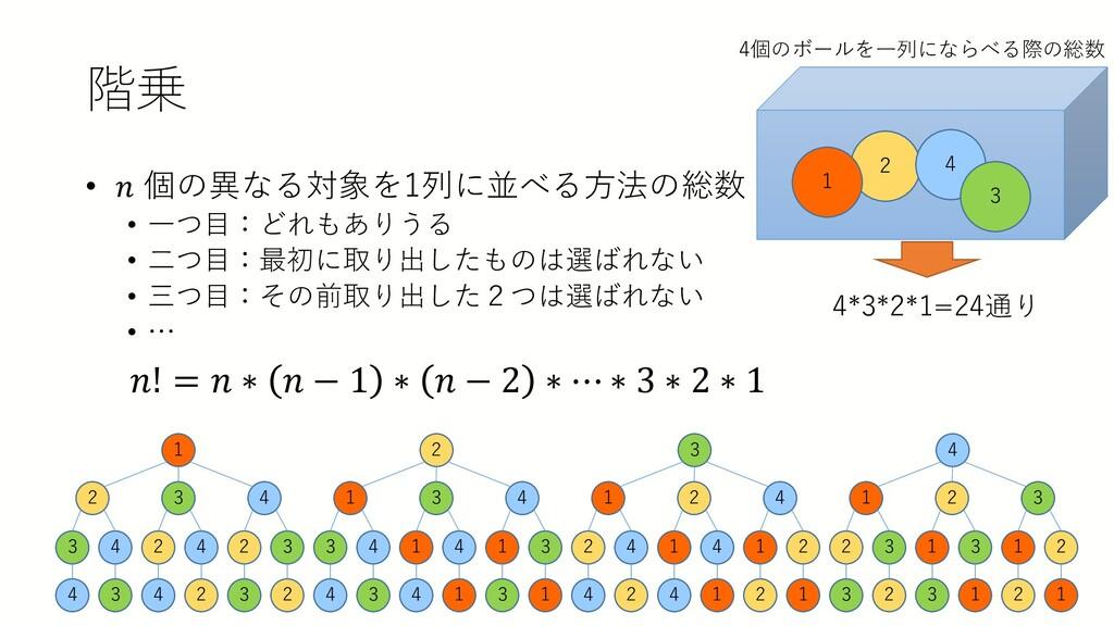階乗 • 𝑛𝑛 個の異なる対象を1列に並べる方法の総数 • 一つ目:どれもありうる • 二つ目...