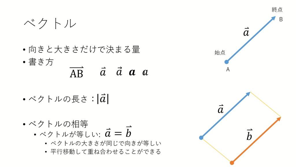 ベクトル • 向きと大きさだけで決まる量 • 書き方 • ベクトルの長さ: • ベクトルの相等...