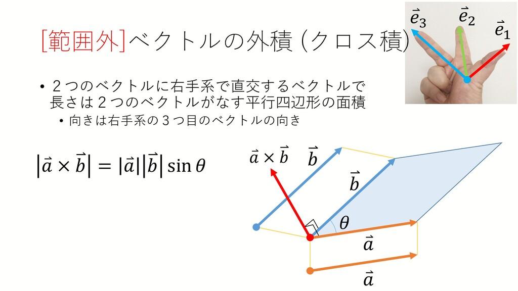 • 2つのベクトルに右手系で直交するベクトルで 長さは2つのベクトルがなす平行四辺形の面積 •...