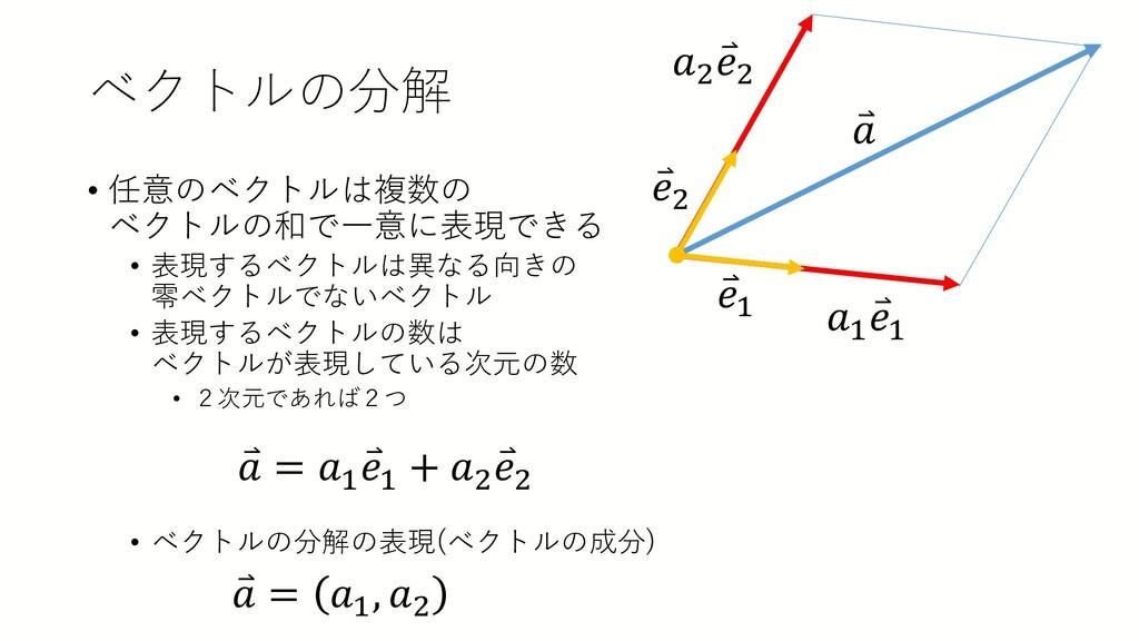 ベクトルの分解 • 任意のベクトルは複数の ベクトルの和で一意に表現できる • 表現するベクト...