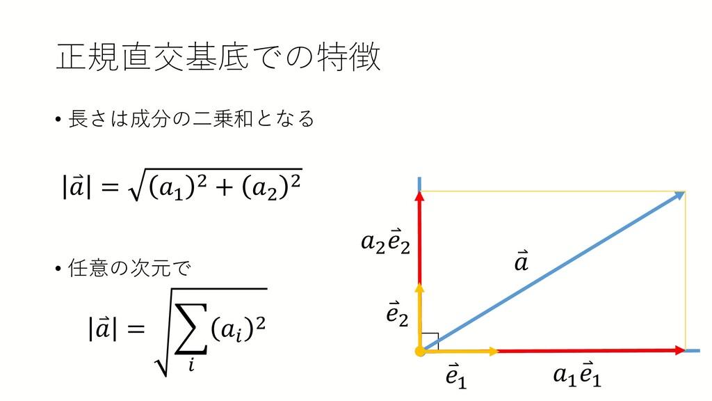 正規直交基底での特徴 • 長さは成分の二乗和となる • 任意の次元で ⃑ 𝑎𝑎 = 𝑎𝑎1 2...
