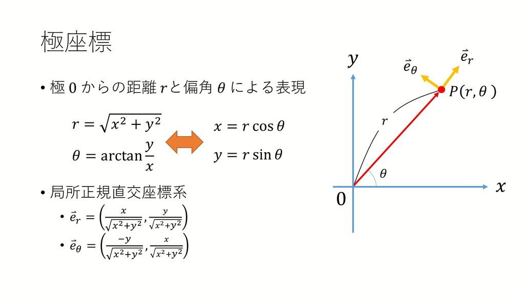極座標 • 極 0 からの距離 𝑟𝑟と偏角 𝜃𝜃 による表現 • 局所正規直交座標系 • ⃑ ...