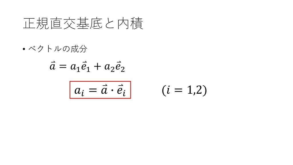 正規直交基底と内積 • ベクトルの成分 𝑎𝑎𝑖𝑖 = ⃑ 𝑎𝑎 � ⃑ 𝑒𝑒𝑖𝑖 (𝑖𝑖 = ...