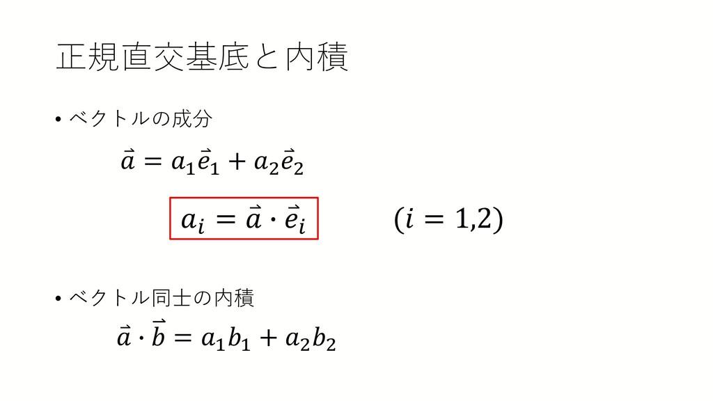 正規直交基底と内積 • ベクトルの成分 • ベクトル同士の内積 ⃑ 𝑎𝑎 = 𝑎𝑎1 ⃑ 𝑒𝑒...
