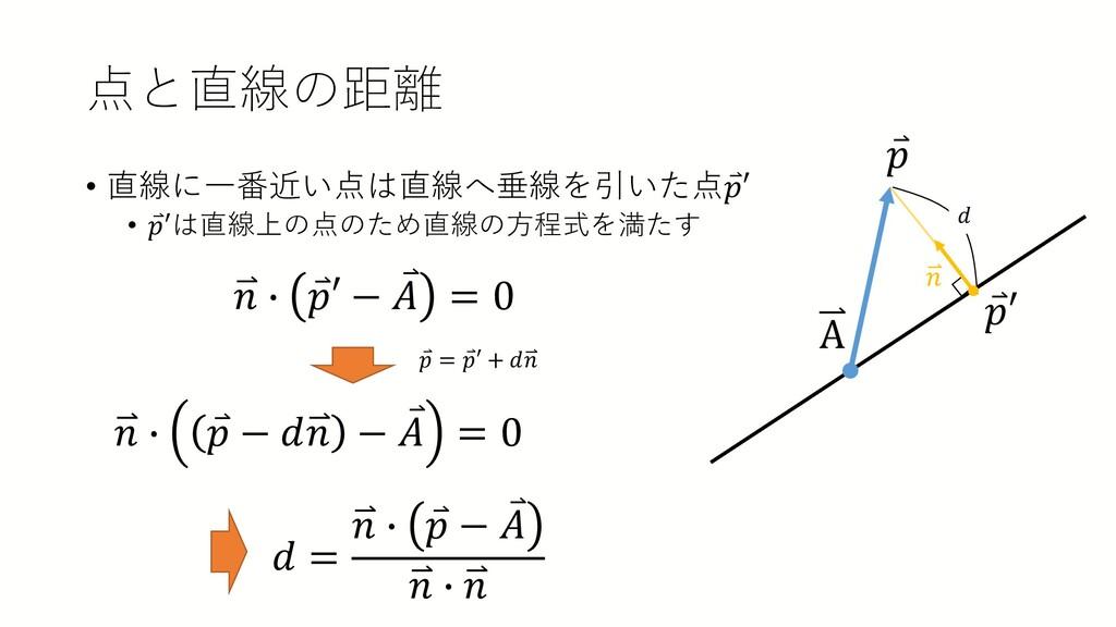 点と直線の距離 • 直線に一番近い点は直線へ垂線を引いた点 ⃑ 𝑝𝑝′ • ⃑ 𝑝𝑝′は直線上...
