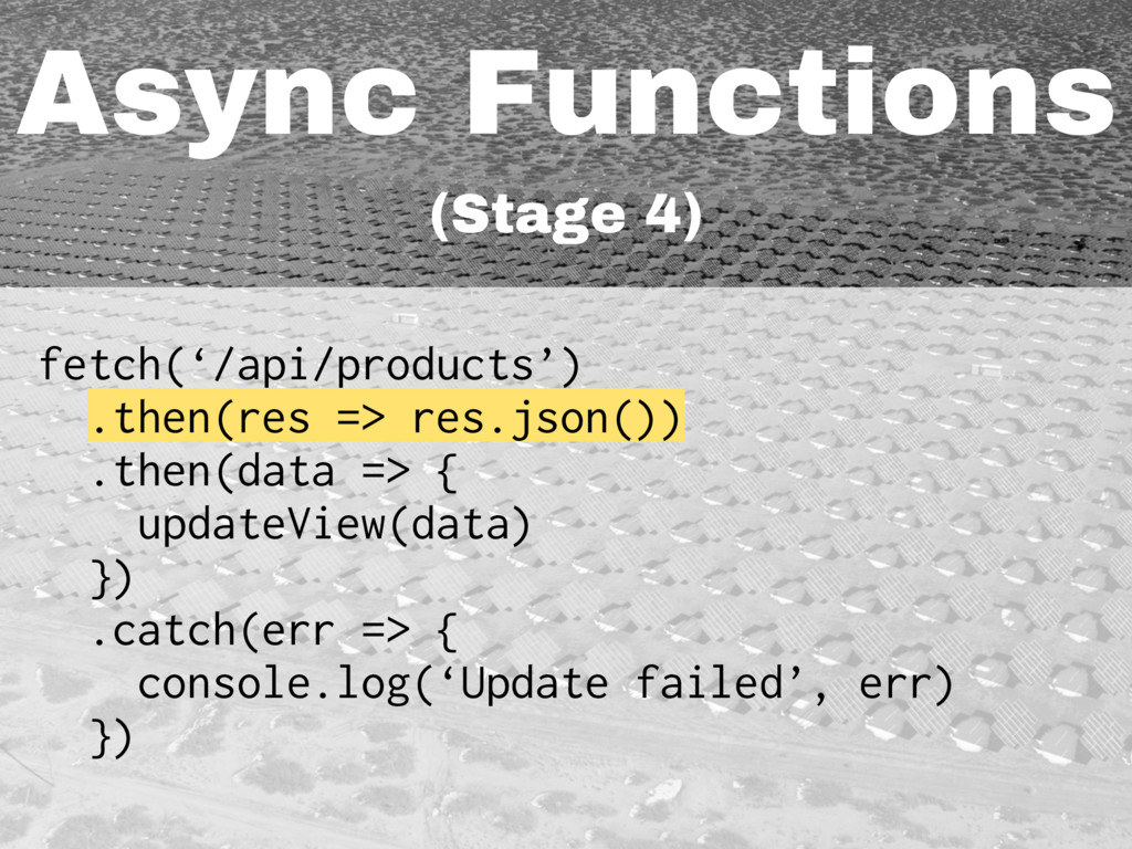 Async Functions (Stage 4) fetch('/api/products'...