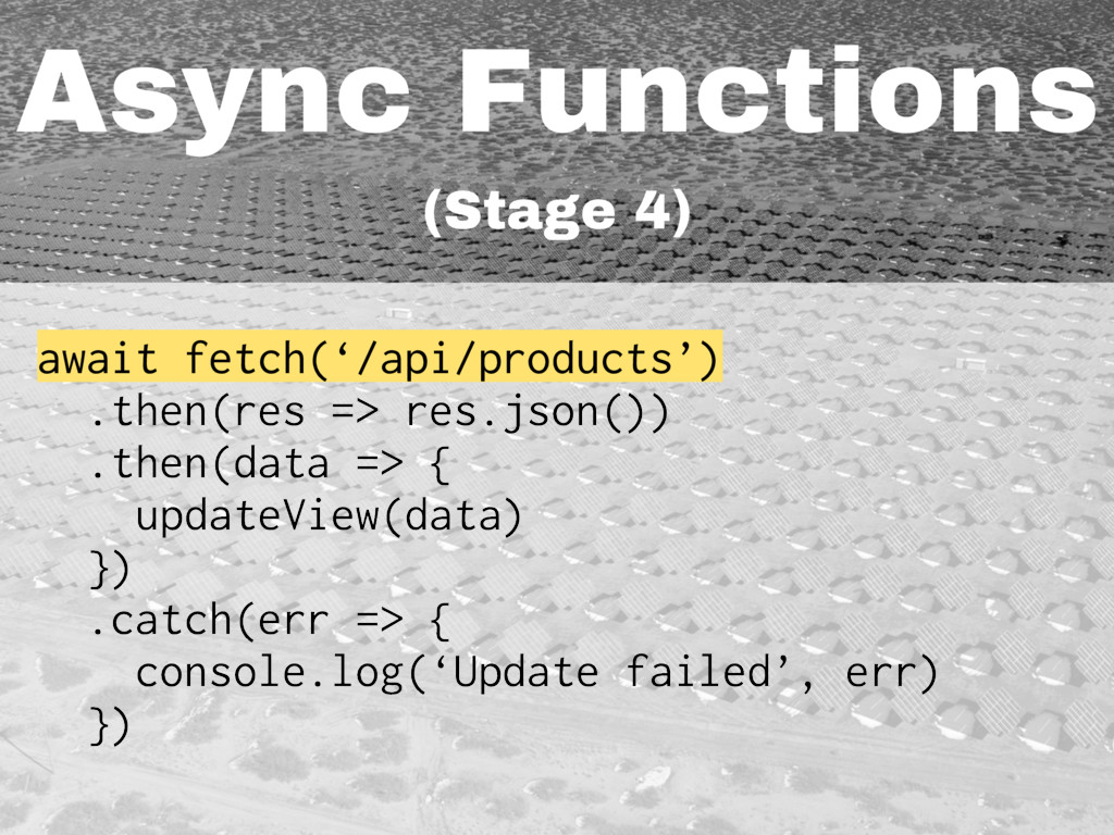 Async Functions (Stage 4) await fetch('/api/pro...