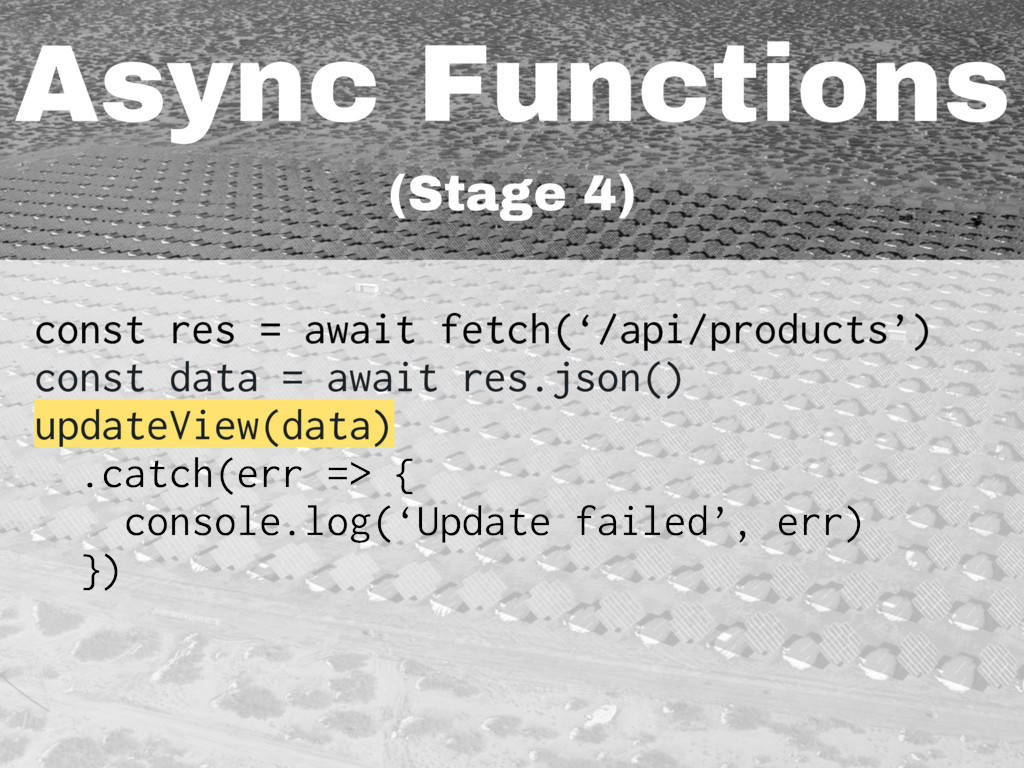 Async Functions (Stage 4) const res = await fet...