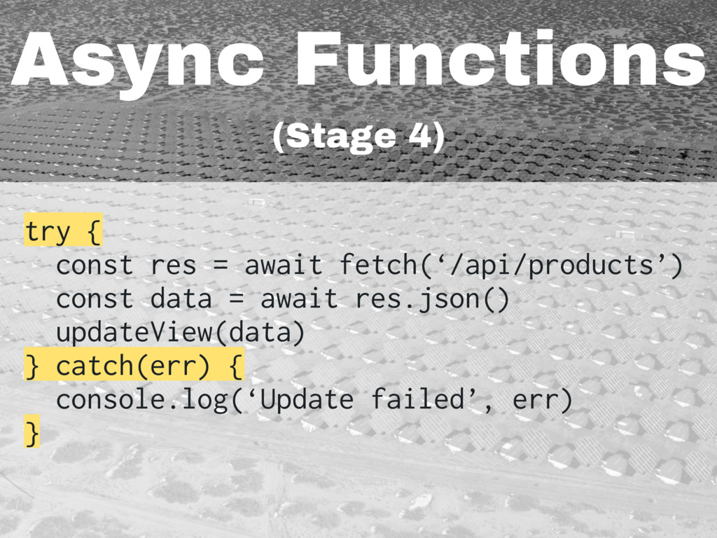 Async Functions (Stage 4) try { const res = awa...