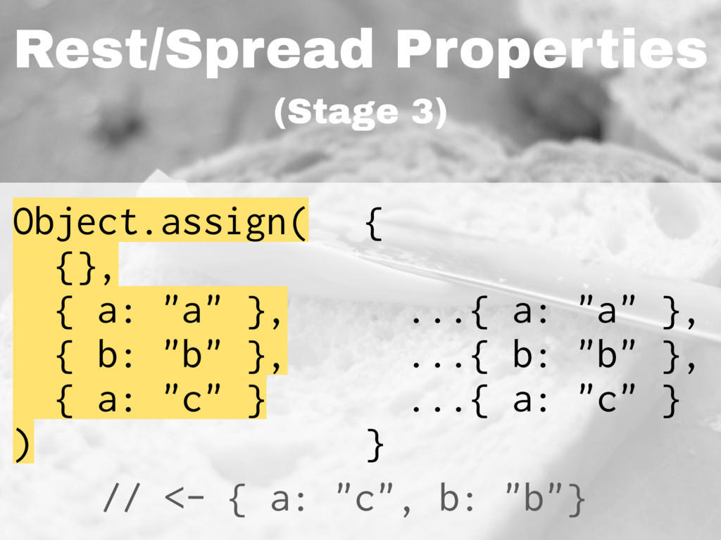 Rest/Spread Properties (Stage 3) Object.assign(...