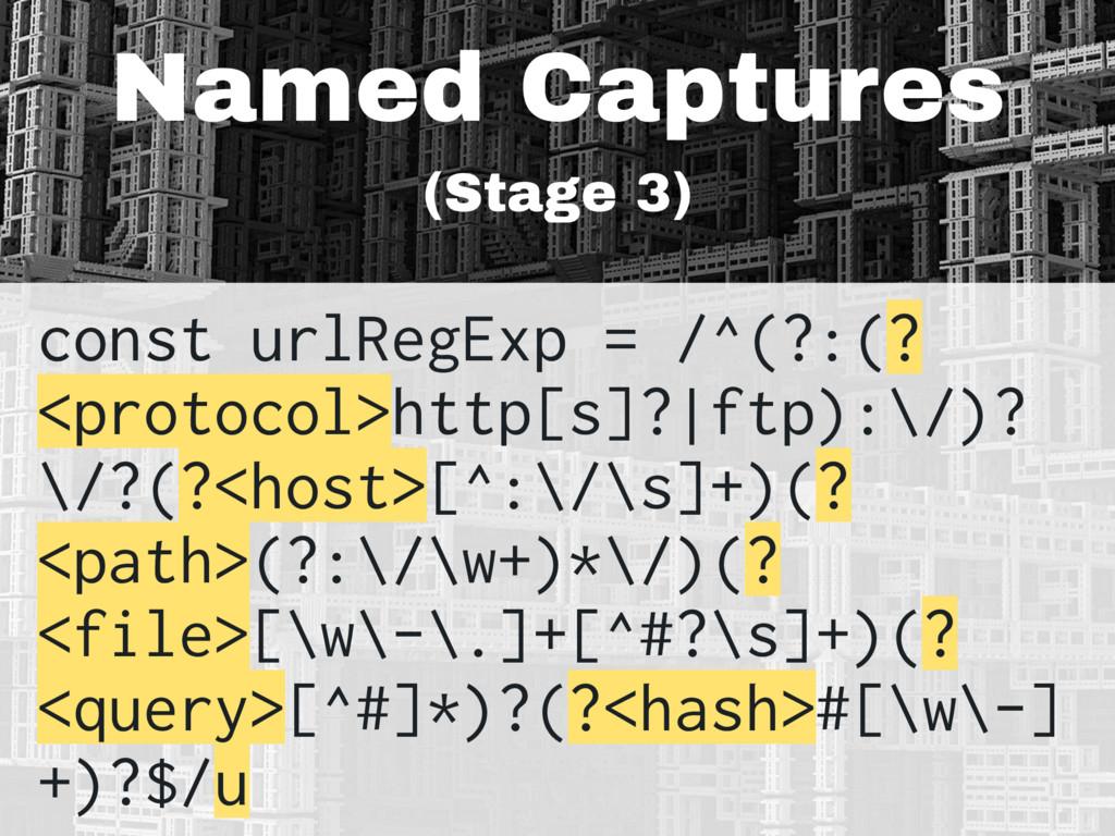 Named Captures (Stage 3) const urlRegExp = /^(?...