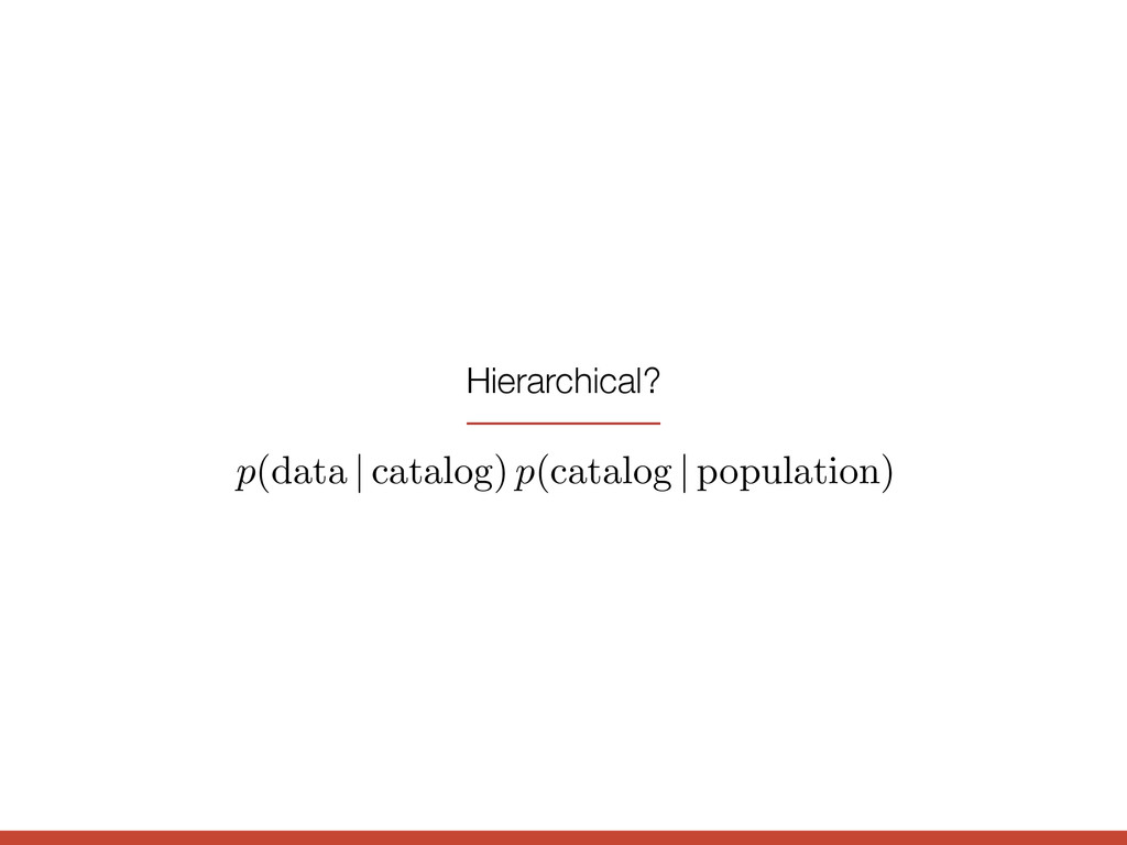 p (data | catalog) p (catalog | population) Hie...