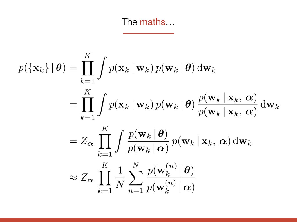 The maths… p({ xk } | ✓) = K Y k=1 Z p( xk | wk...