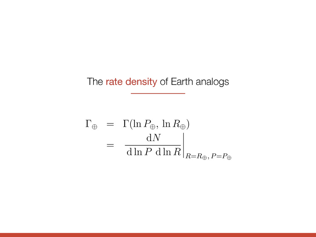 The rate density of Earth analogs ing distribut...