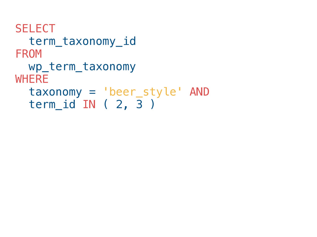 SELECT term_taxonomy_id FROM wp_term_taxonomy W...