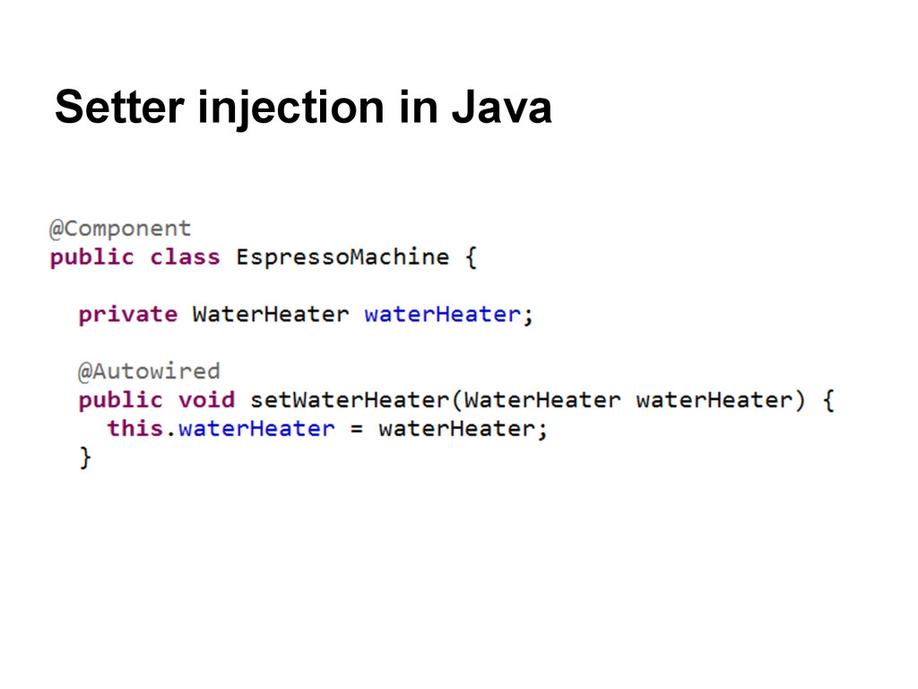 Setter injection in Java