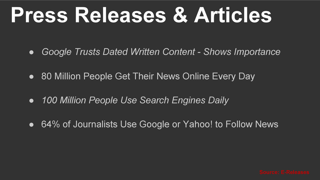 Press Releases & Articles Source: E-Releases ●...