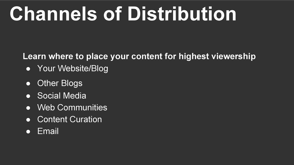 Channels of Distribution Learn where to place y...