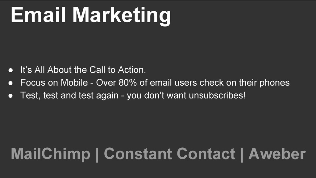 Email Marketing ● It's All About the Call to A...