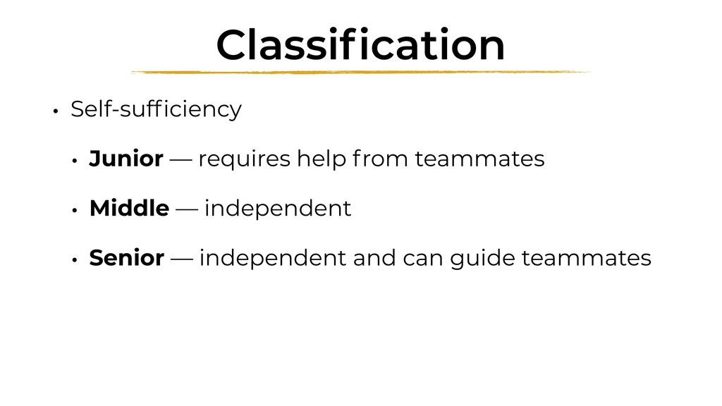 Classification • Self-sufficiency • Junior — requ...