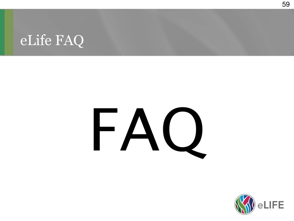eLife FAQ 59 FAQ
