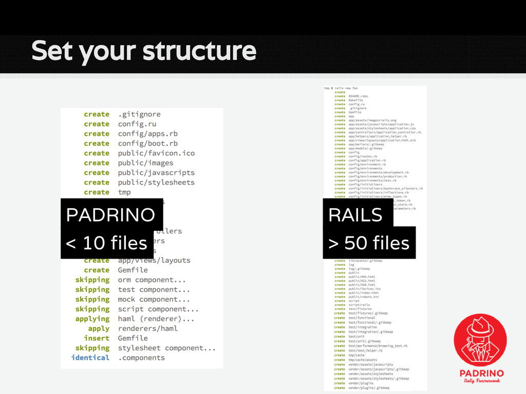 Set your structure RAILS > 50 files PADRINO < 1...