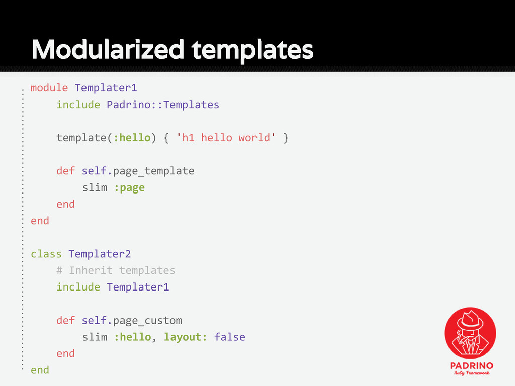 Modularized templates module Templater1 include...