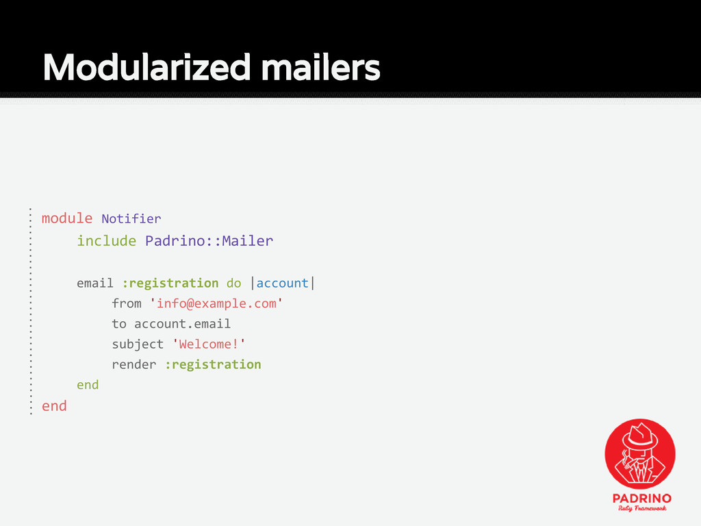 Modularized mailers module Notifier include Pad...