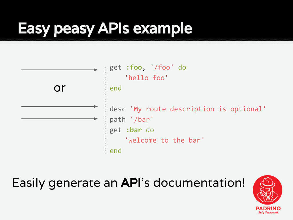 or Easily generate an API's documentation! Easy...