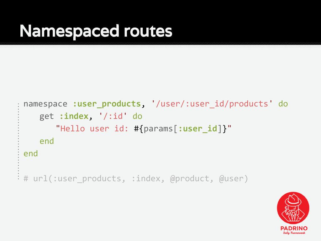 Namespaced routes namespace :user_products, '/u...